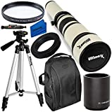 Ultimaxx 650-1300mm (w/ 2X- 1300-2600mm) Telephoto Zoom Lens Kit for Nikon D7500, D500, D600, D610, D700, D750, D800, D810, D850, D3100, D3200, D3300, D3400, D5100, D5200, D5300, D5500, D5600, D7000