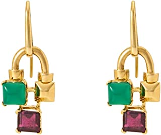 Gehna Yellow Gold, Onyx and Garnet Drop Earrings for Women