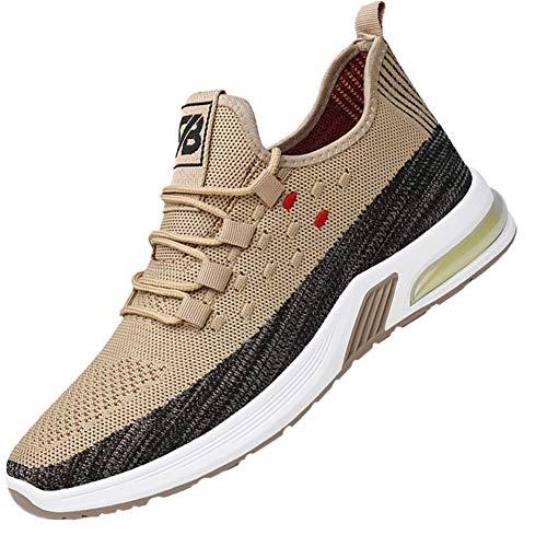 Magnifier Zapatos para Correr para Hombre, con Cordones, Ligero, Transpirable, Malla, atlético, Entrenamiento, Zapatillas Deportivas,Gris,41