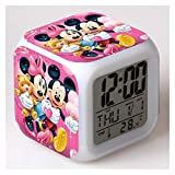 JSJJAQA Alarm Clock Mickey Minnie Mouse Colorful LED Touch Alarm Clock Student Boy Girl Child Bedside European and American Hot Alarm Clock Bedroom (Color : Mickey Mouse 1)
