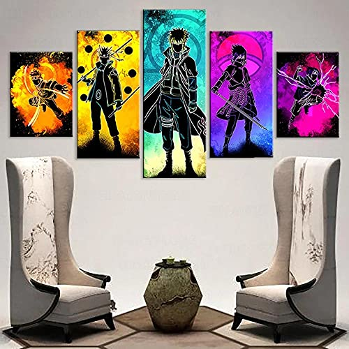 QWASD Personajes De Anime Anime Cuadro En Lienzo 5 Piezas Imagen Impresión,Pintura Decoración 5 Piezas Cuadro Moderno XXL,Murales Pared Oficina Decor