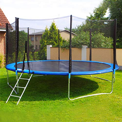 12 FT Trampolines, Lutos TÜV Certificated Safety Enclosure Net, Safety Sports Round Pad Jumping Mat Spring Pull T-Hook, Include All Accessories, for Outdoor Backyard Trampoline (Blue)