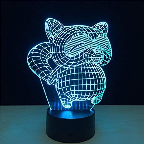 USB Cartoon Fat Civet Cat Shape Table Lamp 3D Camera da letto Office Home Decor Illuminazione Luce notturna Regali per le vacanze dei bambini