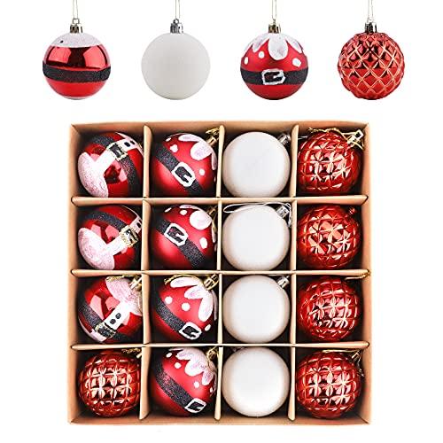 16 palle di Natale ornamenti 5,8 cm infrangibili decorazioni per albero di Natale da appendere palle ornamenti per albero di Natale, festa di nozze, decorazione domestica (rosso bianco)