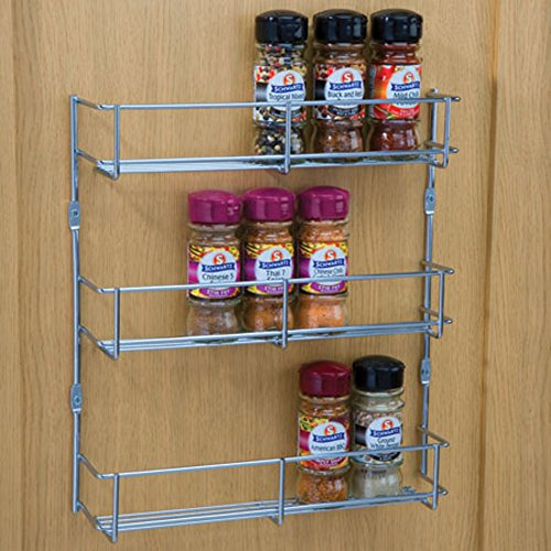 1 & 3 Tier Chrome Spice & Packet Rack Holder for Wall OR Kitchen CUPBOARDS (400mm Hole Centres, 3 Tier)