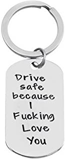 Sephilitone Daughter Son Gifts Driver Safe Keychain Because Your Mom Fucking Love You Pendant Christmas Valentine's Day Keyring New Driver Gift