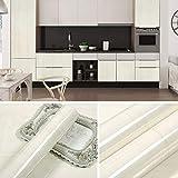 Adesivi per mobili in marmo spesso armadio per porte adesivi murali autoadesivi in pietra carta da parati impermeabile carta da parati 0,6 m * 5 m venatura del legno bianco avorio