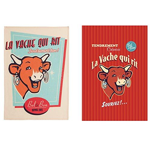 Coucke Lot de 2 torchons Rétro Vache Qui rit, Coton, Multicolore, 75x50 cm