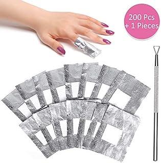 Gel Nail Polish Remover - BTArtbox Soak Off Gel Remover Nail Foil Wraps 200Pcs Acrylic Nail Polish Remover with 1 Pcs Cuticle Pusher for Removing Nail Polish at Home