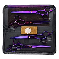 LILYS PET Professional PET Dog Grooming Coated Titanium Scissors Suit Cutting&Curved&Thinning Shears