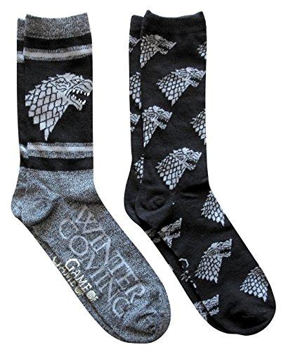 Hyp Game of Thrones Stark Men s Crew Socks 2 Pair Pack Shoe Size 6-12