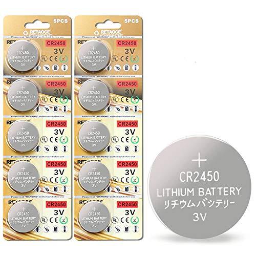 CR2450 Batterie 3V Lithium Knopfzelle 600 mAh Uhren Digital Foto Kamera Küche Küchen Waage (CR2450-10 Stück)