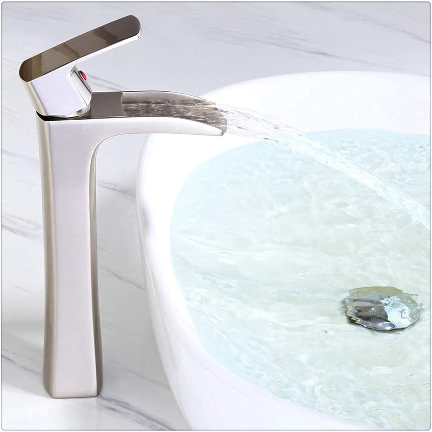 Bathroom Sink Taps Contemporary Waterfall Deck Mounted Basin Faucet Washroom Bathroom Kitchen Mixer Tap,Brushed Nickel