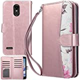 UrbanDrama for LG Stylo 3 Case LG Stylo 3 Plus Case Stylo 3 Wallet Case Folio PU Leather Stand Flip Cover Credit Card Slots Phone Case for LG Stylo 3 LG Stylo 3 Plus 5.7 inch 2017, Floral Rose Gold