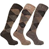 Mens Traditional Argyle Pattern Long Length Lambs Wool Blend Socks (Pack Of 3) (US Shoe 7-12) (Shades of Brown)