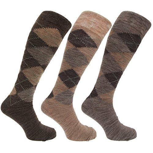 Universaltextilien Herren Socken/Kniestrümpfe mit Rautenmuster, nicht-einschneidende Bündchen, 3er-Pack (39-45 EUR) (Brauntöne)
