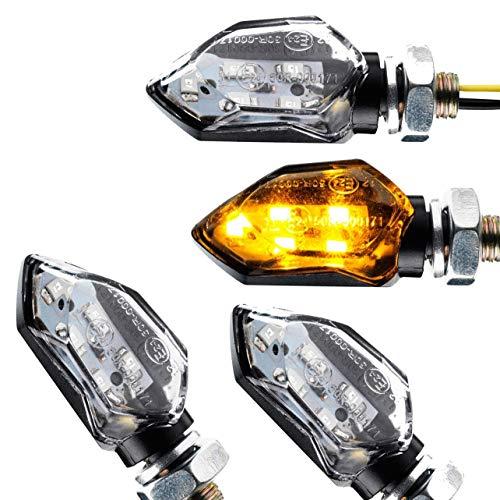4x LED Mini Motorrad Blinker Bernsteingelb Blinkerschwarz klar E-Geprüft universal