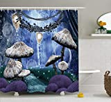 992 Colaecy Trippy Shower Curtain Duschvorhang Abstract Dreamlike Forest Scenery at Night with Mushrooms Pixie Dust and Bubbles, Cloth Fabric Bathroom Decor Set with Hooks, Multicolor 48x72 inch
