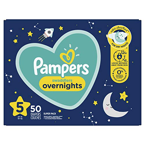 Pampers Swaddlers Overnights Disposable Diapers Size 5, 50 Count, SUPER
