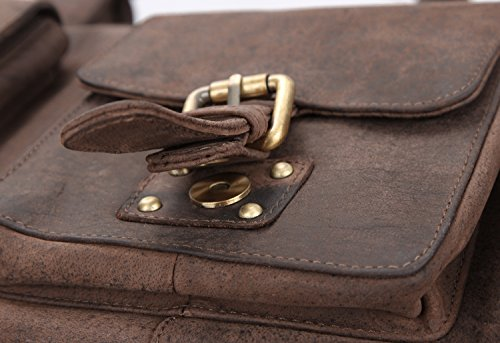 51F6Tvxax7L - LEABAGS Munich Bolso de Viaje de auténtico Cuero búfalo en el Estilo Vintage - Muskat