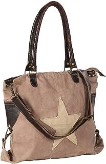 vidaXL vidaXL Einkaufstasche Umhängetasche Damentasche Schultertasche Tragetasche Einkaufsbeutel Handtasche Shopper Braun 41x63cm Segeltuch Echtleder