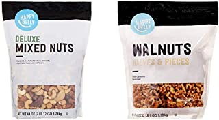 Amazon Brand - Happy Belly Deluxe Mixed Nuts, 44 Ounce & Happy Belly California Walnuts, Halves and Pieces, 40 Ounce