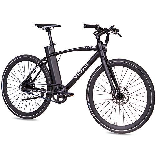 CHRISSON 28 Zoll E-Bike mit Riemenantrieb eOCTANT schwarz matt - Elektrofahrrad City Bike mit Aikema Hinterrad -Nabenmotor 250W, 36V, 40 Nm, Pedelec für Damen und Herren, praktisches E-City Bike