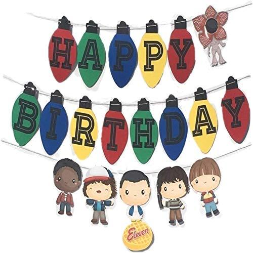 GSDJU Pancarta de Feliz cumpleaños para Once Cosas más extrañas, Suministros para Fiestas temáticas, Pancarta de cumpleaños, Pancarta con Forma de Luces de Joyce Byers