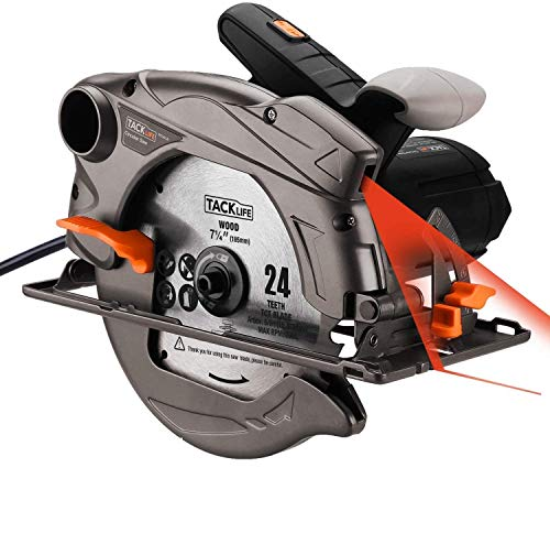 Circular Saw, 7-1/4'(7-1/2') Saw with Lightweight Aluminum Guard, 10feet Cord Length, Laser Guide, Max Cutting Depth 2-1/2''(90°), 1-4/5''(45°), 2 Blades -Tacklife PES01A