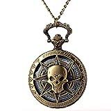 Reloj de Bolsillo Retro Hombre Reloj De Bolsillo De Bronce De Cuarzo Steampunk De Bronce Vintage Calavera Pirata del Caribe Calavera De Terror con Cadena para Hombres Collar Colgante