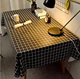 Mantel Limpiar PVC Impermeable Impermeable A Prueba De Aceite Cubierta De Mesa Antiarañazos Mesa De Comedor Rectangular Cocina Aceite Paño De Vinilo D 120 * 170 Cm Cuadrado Negro
