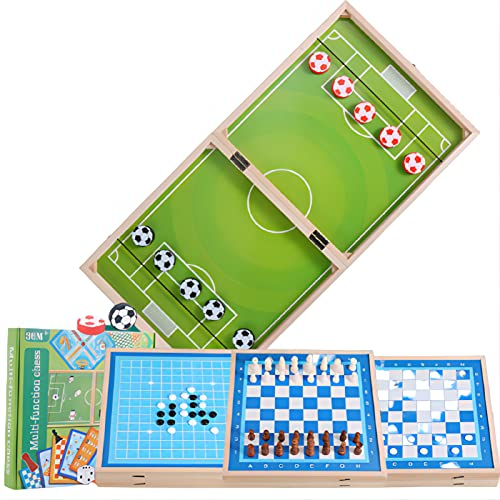 N\C Caja de ajedrez de madera multifuncional para juegos, tabla de rebote de fútbol plegable, juego de mesa doble para padres e hijos, juego de batalla, catapulta (6 en 1)