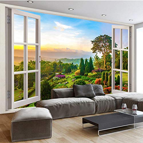 Dianer muurschildering 3D buiten het raam natuur landschap foto muur doek woonkamer tv bank achtergrond muur decor Size:120x100cm(47.24in By 39.37in)