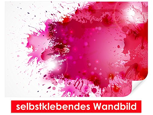 XXL behang zelfklevende muurschildering Red Splash - gemakkelijk te plakken - muurprint, wallpaper, posters, vinylfolie met puntlijm voor muren, deuren, meubels en alle gladde oppervlakken van trendy muren 90x60cm rood