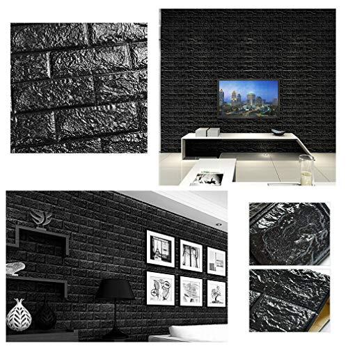 3D Tapete Wandpaneele selbstklebend - Moderne Wandverkleidung in Steinoptik in 5 verschiedenen Farben - schnelle & leichte Montage (10x Stück, Schwarz)