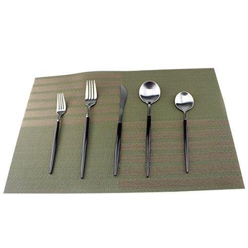 Uniturcky Flatware Set 18/10 Stainless Steel Matte Silver - Kitchen Utensil Serving Set of Dinner Fork Knife Spoons Salad Fork Dessert Spoon,20 Piece Set of 4, for Home Kitchen Hotel