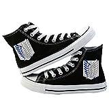 LQS72 Attack on Titan Zapatos de Lona Unisex Zapatillas Altas Zapatos con Cordones de Anime