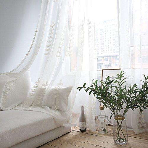 Cotone e lino Finestra scree Ispessimento Ricamo Tenda in tulle Per Camera da letto Soggiorno Balcone Bovindo Tendaggi-bianca 200x270cm(79x106inch)