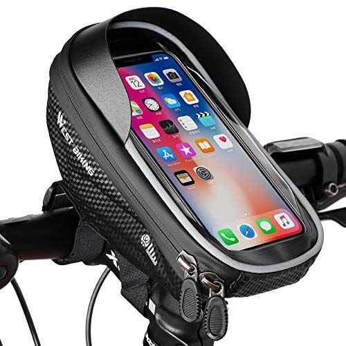 WESTGIRL Bike Handlebar Bag, Bicycle Frame Bag Waterproof Touchscreen, Cycling Top Tube Bag Pouch Phone Mount Holder Stand, Smartphone up to 6.5''