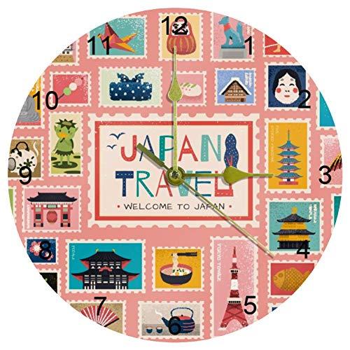 Eslifey - Orologio da parete rotondo con simboli tradizionali giapponesi in francobollo, orologio silenzioso per soggiorno, cucina, camera da letto