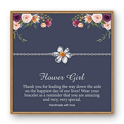 IEFLIFE Charm Bracelet Flower Girl Gifts, Little Girl Bracelet for Wedding Gifts Daisy Flower Bracelet Flower Girl Gifts from Bride Flower Girl Proposal Gifts