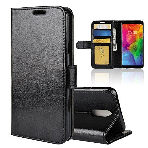 LAGUI Hülle Geeignet für LG Q7, Schlichtes Aber Edles Brieftasche Lederhülle Mit Kartenfächern Fach & Magnetische Verschluss, Anti-Scratch, stoßfeste Handyhülle. schwarz