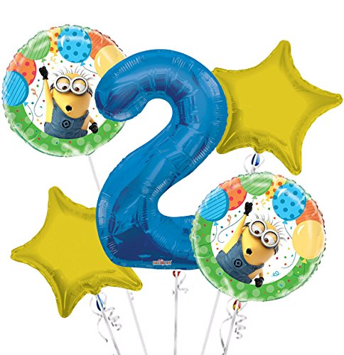 Minions Despicable Me Balloon Bouquet 2nd Birthday 5 pcs - Party Supplies