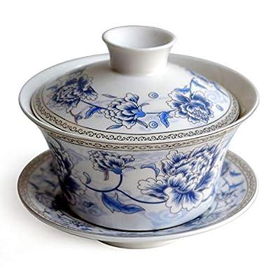 Chinese Porcelain Teacups 10oz Gaiwan Flower Tureen Tradition Sancai Cover Bowl Lip Cup Saucer Tea Set Loose tea Blooming (Blue silk peony)