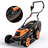 Electric Lawn Mower, TACKLIFE 1600W Lawnmower, 38cm Mowing Width, 6 Adjustable Mower Heights, Easy Folding for Space Saving, Low Noise, Tool-Free Assembly, 10m Power Cable, 40L Grass Box
