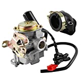 Wilktop Carburador + Colector de Admisión, Carburador de 50cc Carburador de Repuesto de 18mm con Colector de Admisión Adecuado para Rex RS 400 / RS 450 / RS 460 / GY6 50cc