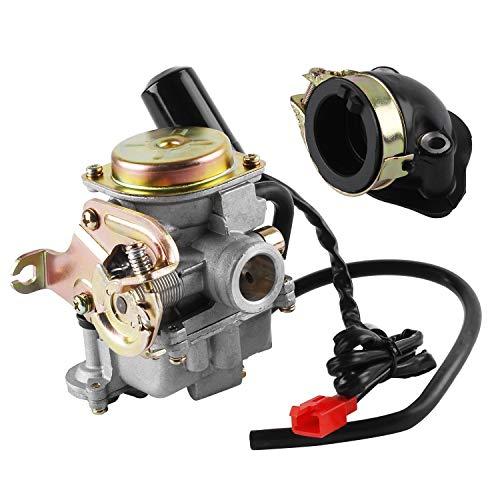 Wilktop Vergaser, 50cc Vergaser 18mm Ersatzvergaser mit Ansaugstutzen Passend für Rex RS 400 / RS 450 / RS 460 /GY6 50cc
