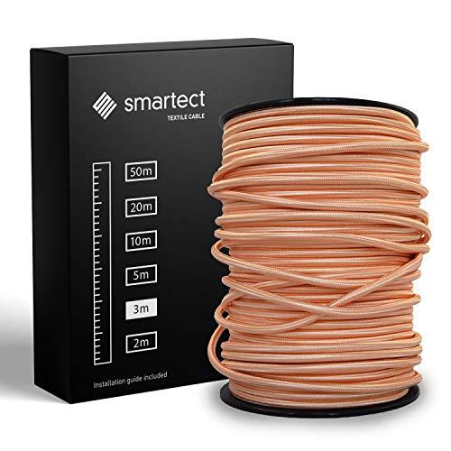 smartect Textilkabel Kupfer - 3 Meter Vintage Lampenkabel aus Textil - 3-Adrig (3 x 0.75 mm²) - Stoffummanteltes Stromkabel für DIY Projekt