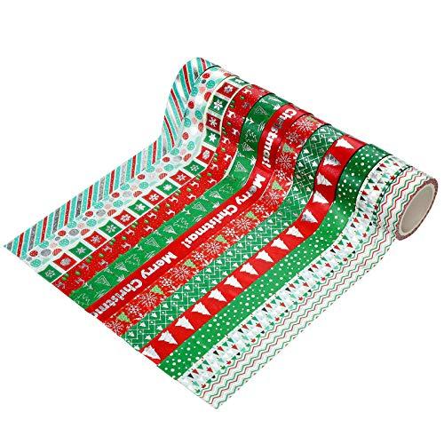 12 Rollos Cinta Adhesiva de Papel de Navidad Cinta Adhesiva Decorativa Washi Tape de...
