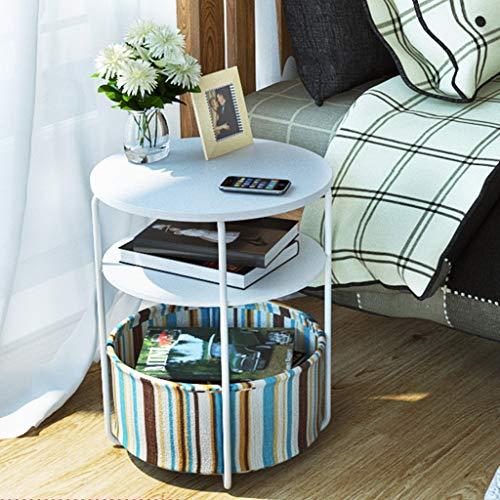 Yxsd sängbord sängbord tre nivåer skåp litet soffbord mini vardagsrum hörnbord soffa sidoskåp sida säng rund bord (färg: B)
